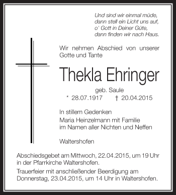 Zur Gedenkseite von Thekla