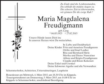 Zur Gedenkseite von Maria Magdalena