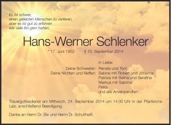 Zur Gedenkseite von Hans-Werner