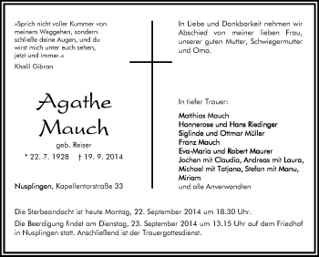 Zur Gedenkseite von Agathe