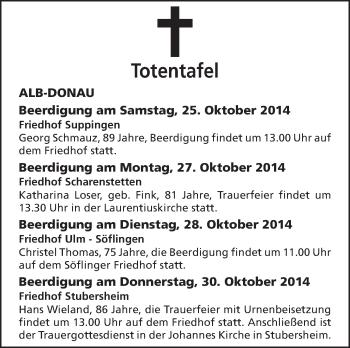Zur Gedenkseite von Totentafel