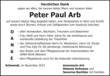 Zur Gedenkseite von Peter Paul