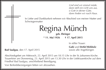 Zur Gedenkseite von Regina