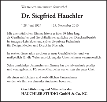 Zur Gedenkseite von Siegfried Hauchler