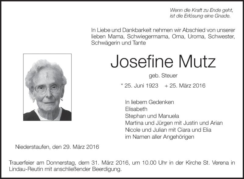 Traueranzeige von Josefine Mutz | schwaebische.de Trauerportal