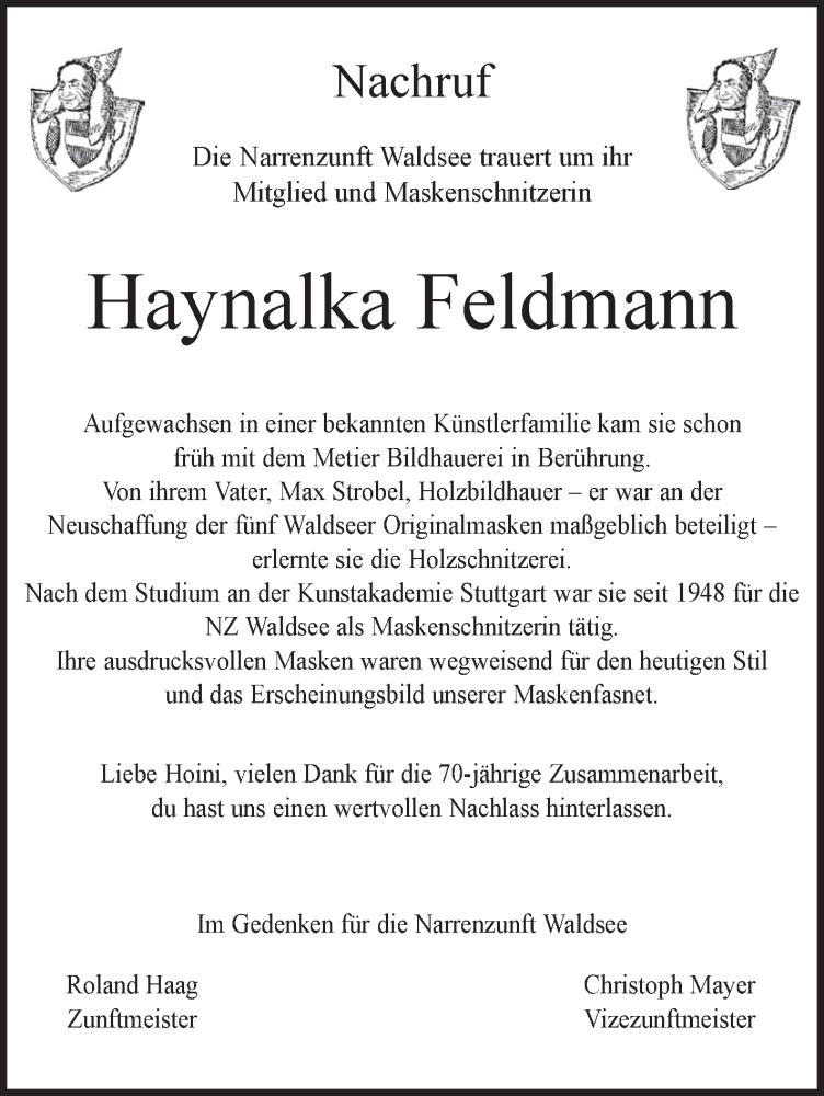 Bekannt Traueranzeige von Haynalka Feldmann | schwaebische.de Trauerportal KN41