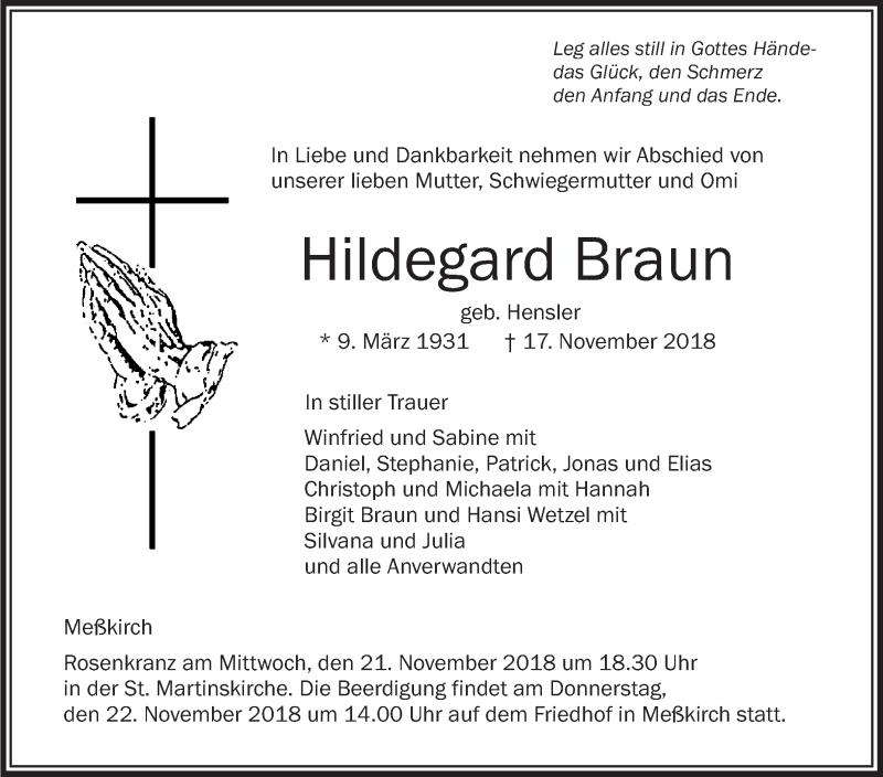 Traueranzeigen Von Hildegard Braun Schwaebische De Trauerportal