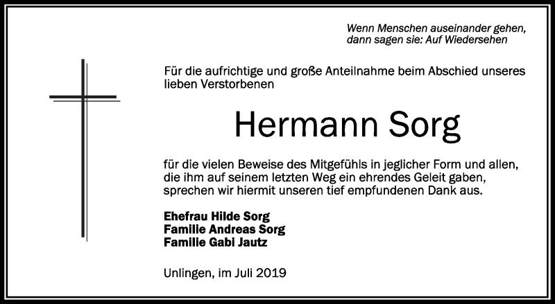 Traueranzeige Von Hermann Sorg Schwaebischede Trauerportal